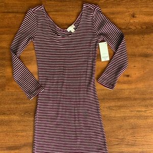 Brand new long sleeve maroon striped sweater dress